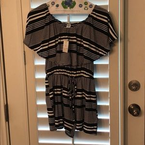 NWT off the shoulder striped romper